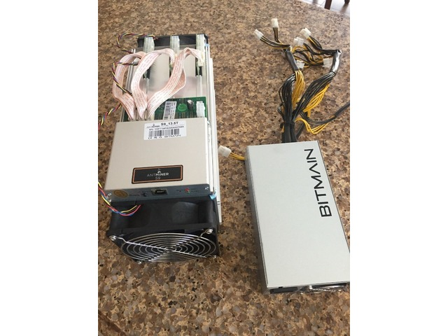 NEW Bitmain Antminer S9 13 5TH/s Bitcoin Miner with PSU in